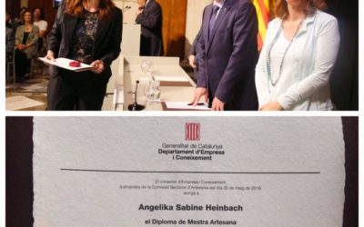 """Master of Mosaic and Trencadis Art: Diploma accredited for Excellence """"Mestre artesà divulgatiu"""" (Master craftsman`s certificate) in the work and divulgation of this Art, awarded by the President of the Generalitat de Catalunya, Carles Puigdemont i Casamajó!"""